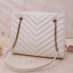 Replica Saint Laurent YSL 568865 Tribeca Small Shopping Bag In White Grain De Poudre Embossed Leather