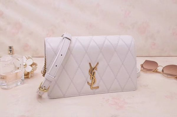 Replica Saint Laurent YSL 568906 ANGIE Chain Bag In White Diamond Quilted Lambskin Leather