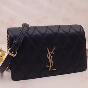 Replica Saint Laurent YSL 568906 ANGIE Chain Bag In Black Diamond Quilted Lambskin Leather