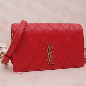 Replica Saint Laurent YSL 568906 ANGIE Chain Bag In Red Diamond Quilted Lambskin Leather