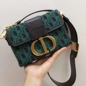 Replica Dior 30 Montaigne flap bag in Green Dior Oblique jacquard canvas and CD clasp