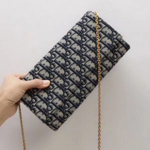 Replica Dior S5401 Clutch Wallets blue Dior Oblique jacquard canvas