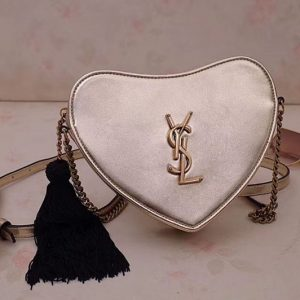 Replica YSL 540694 Monogram Heart Cross Body Bags In Gold Metallic Leather