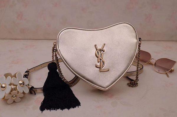 Replica YSL 540694 Monogram Heart Cross Body Bags In Gold Metallic Leather