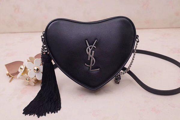 Replica YSL 540694 Monogram Heart Cross Body Bags In Black Metallic Leather