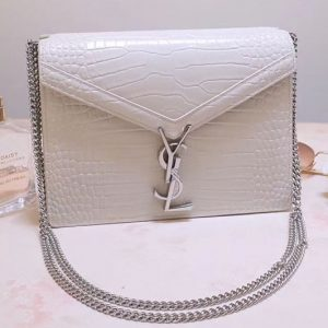 Replica YSL 532750 Cassandra Monogram Clasp Bags In White Crocodile Embossed Shiny Leather