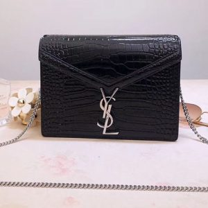 Replica YSL 532750 Cassandra Monogram Clasp Bags In Black Crocodile Embossed Shiny Leather