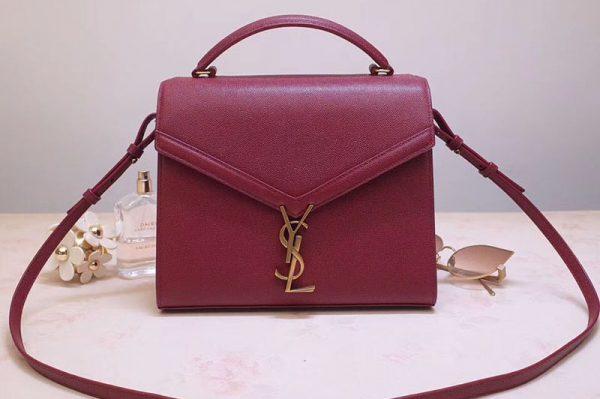 Replica YSL 578000 Cassandra Top Handle Medium Bags In Bordeaux Grain De Poudre Embossed Leather