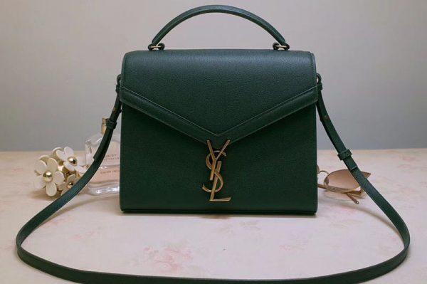 Replica YSL 578000 Cassandra Top Handle Medium Bags In Green Grain De Poudre Embossed Leather