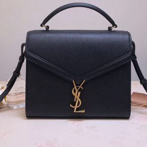 Replica YSL 578000 Cassandra Top Handle Medium Bags In Black Grain De Poudre Embossed Leather