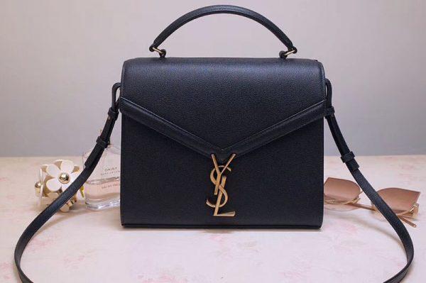 Replica YSL 578000 Cassandra Top Handle Medium Bags In Black Grain De Poudre Embossed Leather