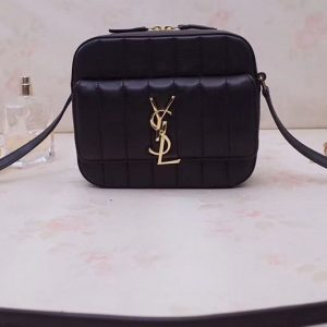Replica YSL 555052 Vicky Camera Bags In Black Quilted Lambskin Leather