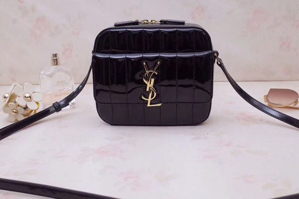 Replica YSL 555052 Vicky Camera Bags In Black Quilted Patent Leather