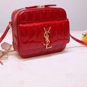 Replica YSL 555052 Vicky Camera Bags In Red Quilted Patent Leather