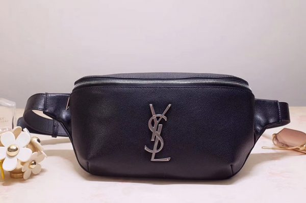 Replica Saint Laurent YSL 569737 Classic Monogram Belt Bag in Black Lambskin Leather Silver Hardware