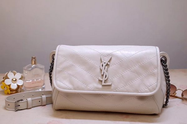 Replica Saint Laurent YSL 577124 Niki Body Bag in White Crinkled Vintage Leather