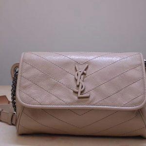 Replica Saint Laurent YSL 577124 Niki Body Bag in Beige Crinkled Vintage Leather