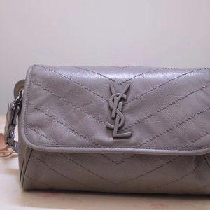 Replica Saint Laurent YSL 577124 Niki Body Bag in Gray Crinkled Vintage Leather