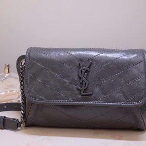Replica Saint Laurent YSL 577124 Niki Body Bag,Dark Gray Crinkled Vintage Leather,Replica Saint Laurent Bags,Fake YSL Handbags,Luxury Saint Laurent Purses,Womens Bags,Ladies Handbags