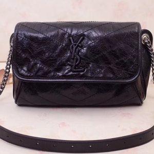 Replica Saint Laurent YSL 577124 Niki Body Bag in Black Crinkled Vintage Leather