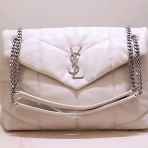 Replica Saint Laurent YSL 577475 Loulou Puffer Medium Bag in White Quilted Lambskin Leather