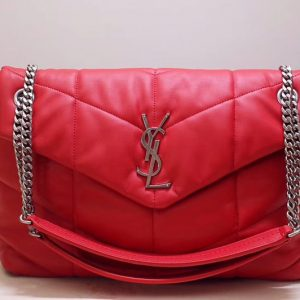 Replica Saint Laurent YSL 577475 Loulou Puffer Medium Bag in Red Quilted Lambskin Leather