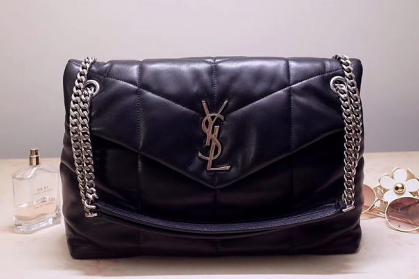 Replica Saint Laurent YSL 577475 Loulou Puffer Medium Bag in Black Quilted Lambskin Leather Silver Hardware