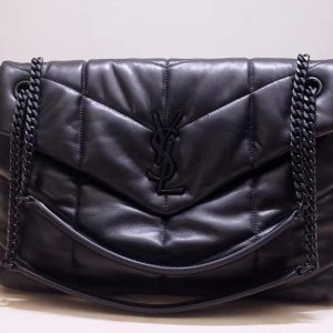 Replica Saint Laurent YSL 577475 Loulou Puffer Medium Bag in Black Quilted Lambskin Leather Black Hardware