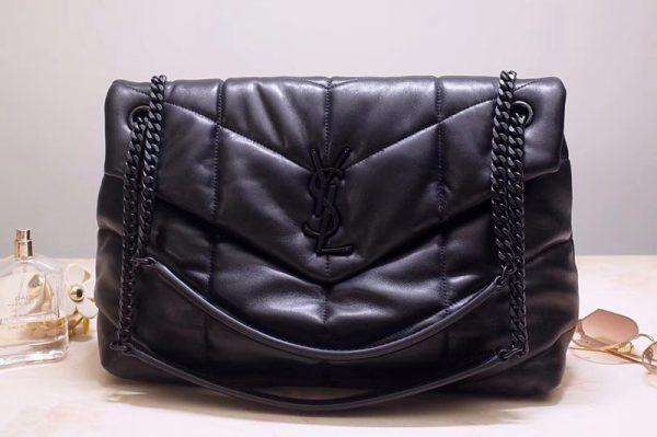 Replica Saint Laurent YSL 577475 Loulou Puffer Medium Bag in Black Quilted Lambskin Leather Black Hardware