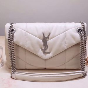 Replica Saint Laurent YSL 577476 Loulou Small Bag in White Quilted Lambskin Leather