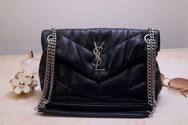Replica Saint Laurent YSL 577476 Loulou Small Bag in Black Quilted Lambskin Leather Silver Hardware