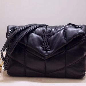 Replica Saint Laurent YSL 577476 Loulou Small Medium Bag in Black Quilted Lambskin Leather Black Hardware