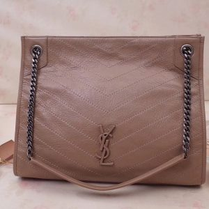 Replica Saint Laurent YSL 577999 Niki Medium Shopping Bag in Beige Crinkled Vintage Leather