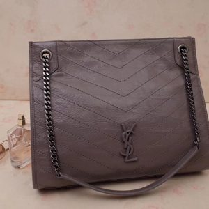 Replica Saint Laurent YSL 577999 Niki Medium Shopping Bag in Gray Crinkled Vintage Leather