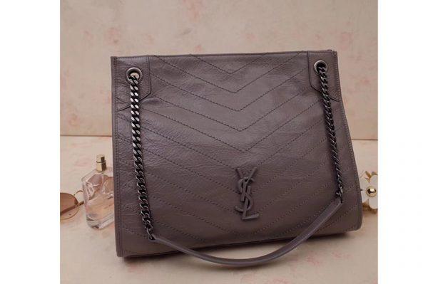 Replica Saint Laurent YSL 577999 Niki Medium Shopping Bag in Gray Crinkled Vintage Leather