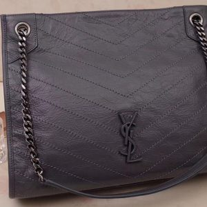 Replica Saint Laurent YSL 577999 Niki Medium Shopping Bag in Dark Gray Crinkled Vintage Leather