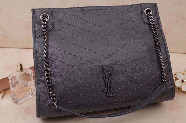 Replica Saint Laurent YSL 577999 Niki Medium Shopping Bag in Dark Gray Crinkled Vintage Leather