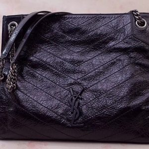 Replica Saint Laurent YSL 577999 Niki Medium Shopping Bag in Black Crinkled Vintage Leather