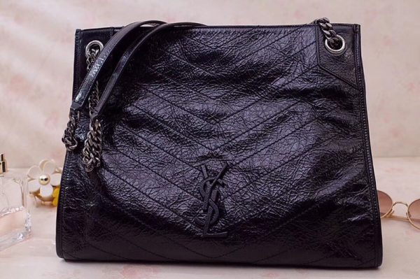 Replica Saint Laurent YSL 577999 Niki Medium Shopping Bag in Black Crinkled Vintage Leather