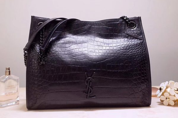 Replica Saint Laurent YSL 577999 Niki Medium Shopping Bag in Blue Crocodile Embossed Crinkled Vintage Leather