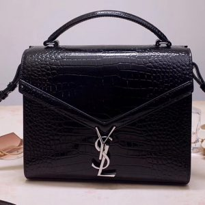 Replica Saint Laurent YSL 578000 CASSANDRA Top Handle Medium Bags Black Shiny Crocodile Embossed Leather