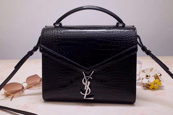 Replica Saint Laurent YSL 578000 CASSANDRA Top Handle Medium Bags Black Shiny Crocodile Embossed Leather