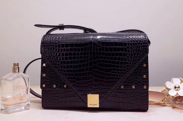 Replica Saint Laurent YSL 578056 MARGAUX satchel Bags in Black crocodile embossed shiny leather