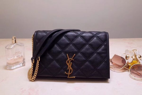Replica Saint Laurent YSL 585031 BECKY Chain Wallet In Black Diamond Quilted Lambskin Leather