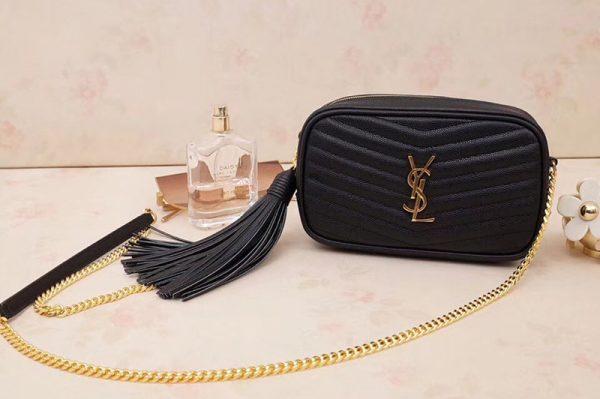 Replica Saint Laurent YSL 585040 Lou Mini Camera Bag in Black Matelasse Leather