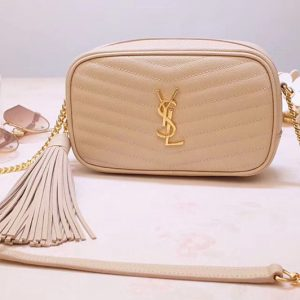 Replica Saint Laurent YSL 585040 Lou Mini Camera Bag in Beige Matelasse Leather