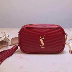 Replica Saint Laurent YSL 585040 Lou Mini Camera Bag in Red Matelasse Leather