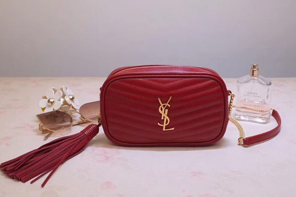 Replica Saint Laurent YSL 585040 Lou Mini Camera Bag in Red Matelasse Leather