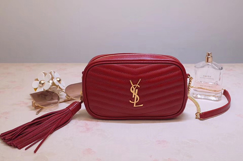 Saint Laurent Ysl 585040 Lou Mini Camera Bag In Red