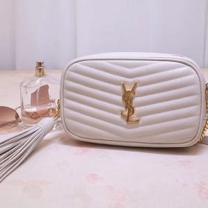 Replica Saint Laurent YSL 585040 Lou Mini Camera Bag in White Matelasse Leather